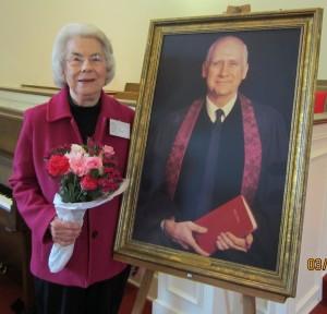 Pat with Mel's portrait